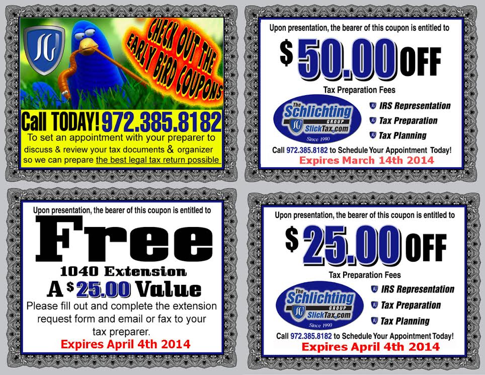 2014 Tax Preparation Coupons